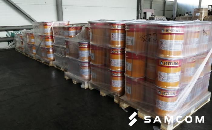 Перевозка 4500 кг. краски из Ленинградской области